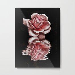reflected rose Metal Print