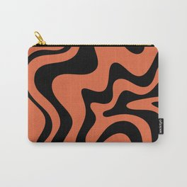Retro Liquid Swirl Abstract Pattern in Black and Orange Carry-All Pouch