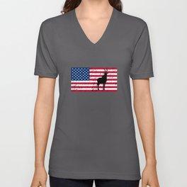 Antelope Patriotic American Flag Unisex V-Neck