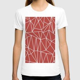 Geometric Cobweb (White & Maroon Pattern) T-shirt