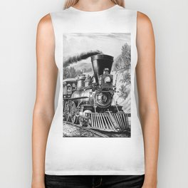 The Express Train: Currier & Ives 1870 Biker Tank