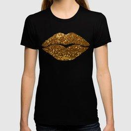 Gold Sparkle Kissing Lips T-shirt