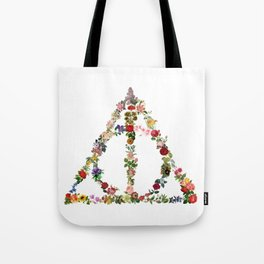 Truly Floral Deathly Hallows Tote Bag