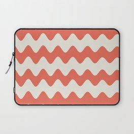 Pantone Living Coral & Cannoli Cream Soft Zigzag Rippled Horizontal Line Pattern Laptop Sleeve