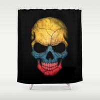 colombia Shower Curtains featuring Dark Skull with Flag of Colombia by Jeff Bartels