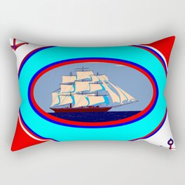 A Nautical Oval Ship and Anchors, red, white and blue Rectangular Pillow