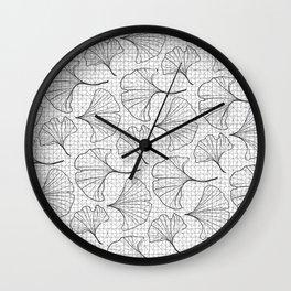 grid in black and petals Wall Clock