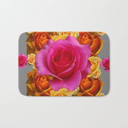OLD GOLD-YELLOW & PINK ROSES ON GREY Bath Mat