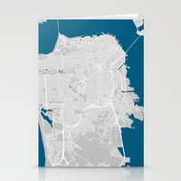 san francisco map Stationery Cards featuring San Francisco city map grey colour by MCartography