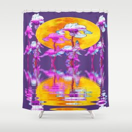 PURPLE-WHITE IRIS & MOON WATER GARDEN  REFLECTION Shower Curtain