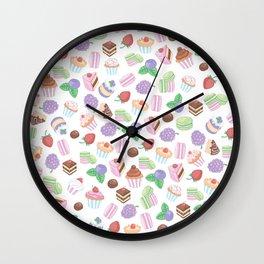 Pink teal trendy sweet macaroons cookies cupcake pattern Wall Clock