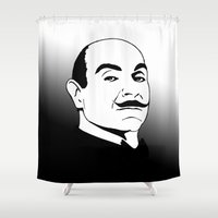 hercules Shower Curtains featuring Hercules Poirot. by T-shirtevolution.com