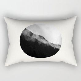Mid Century Modern Round Circle Photo Black And White Misty Pine Trees Cliff Rectangular Pillow