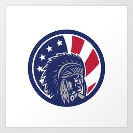 Native American Indian Chief USA Flag Icon Art Print