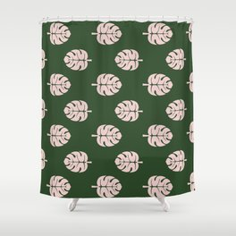 Tropical leaves Monstera deliciosa emerald and pink #monstera #tropical #leaves #floral #homedecor Shower Curtain