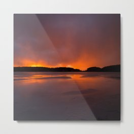 Sunset With Orange Sky Reflections On The Icy Lake #decor #society6 #homedecor #buyart Metal Print