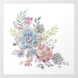 succulent watercolor 6 Art Print