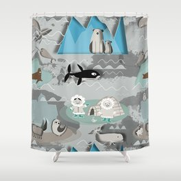 Grey And Turquoise Shower Curtain. Arctic animals grey Shower Curtain Antarctica Curtains  Society6