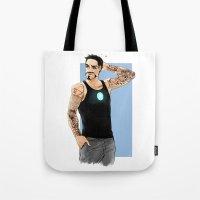 tony stark Tote Bags featuring Tony Stark+Sleeve tats  by Krusca