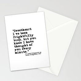 Thought of you every minute - Fitzgerald quote Stationery Cards
