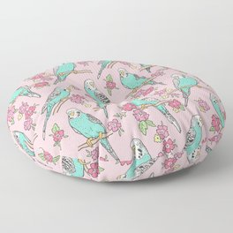 Budgie Birds With Blossom Flowers on Pink Floor Pillow