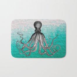 Antique Nautical Steampunk Octopus Vintage Kraken sea monster ombre turquoise blue pastel watercolor Bath Mat