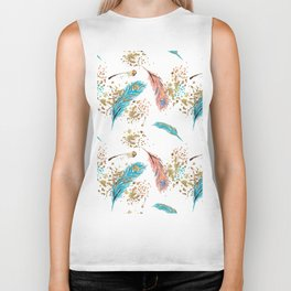 Golden Peacock Feather Pattern 14 Biker Tank