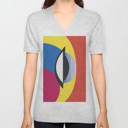 Bauhaus Decor Geometric Primary Colors Unisex V-Neck