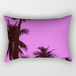 Tropical palm trees on blue pink Rectangular Pillow