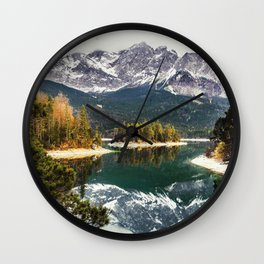 Green Blue Lake, Trees and Mountains Wall Clock
