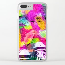 canvas shoes with colorful painting abstract in pink yellow green blue Clear iPhone Case