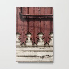 red cream carved wooden wall detail Metal Print