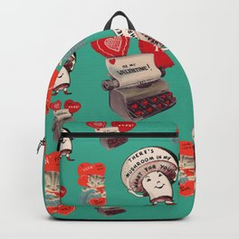 Cheesy Vintage Valentine's Day Card Pattern on Teal Backpack