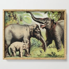 Vintage Old Illustration Of A Elephant Family In The Jungle Serving Tray