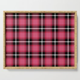 Honeysuckle pink color themed plaid SCOTTISH TARTAN Checkered Fabric Pattern background. Serving Tray