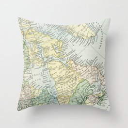 Vintage Map of The East Of Canada Throw Pillow