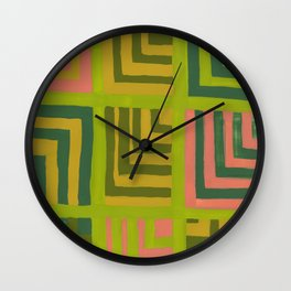 Painted Color Block Squares Wall Clock