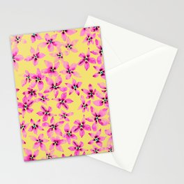 Pink floral pattern on pastel yellow background in watercolor  Stationery Cards