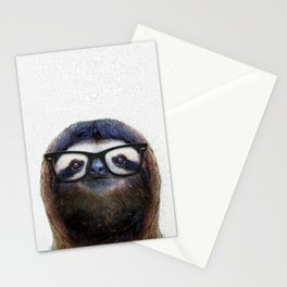Hipster Sloth Stationery Cards