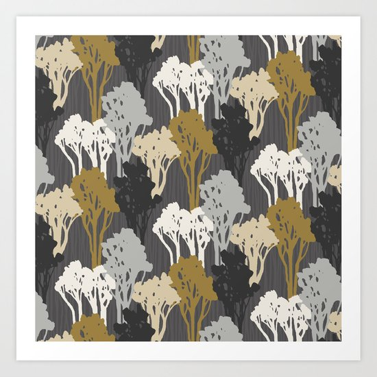 Arboreal Silhouettes - Golds & Silvers Art Print