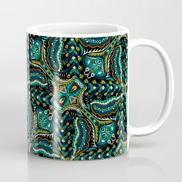 Bohemian Folkart Floral - Indigo, Turquoise & Burnt Red Flower Pattern with Folky Feel Coffee Mug