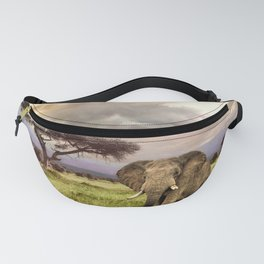 Elephant Landscape Collage Fanny Pack