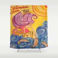 trout Shower Curtains featuring Delaware Diva Trout Tamer by AM Prono