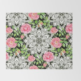 Peach Pink Roses and Mandalas on Black and White Lace Throw Blanket