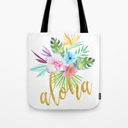 Hawaiian multicolored floral bouquet with faux gold aloha brush script Tote Bag