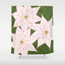 White And Pink Poinsettias, Christmas Holiday Flowers Shower Curtain