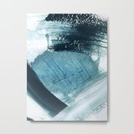 Pacific: a minimal abstract mixed media piece in blues and white Metal Print