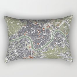 Rome city map engraving Rectangular Pillow