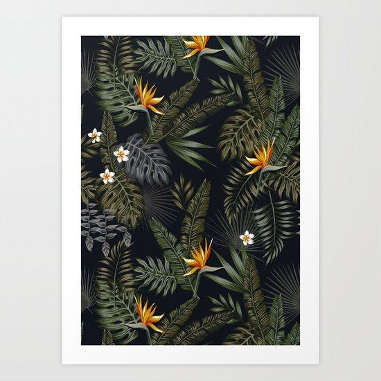 night tropical pattern Art Print