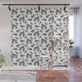 Grey little pretty swallows birds, sunny bright oranges vintage retro black and white pattern Wall Mural